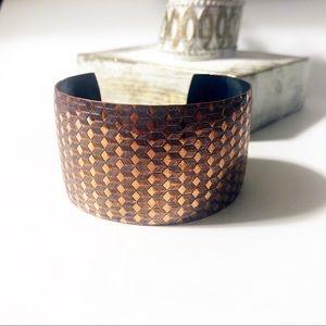 Wide Copper Diamond Pattern Cuff Bracelet